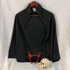 Other - 🏆 Black Cape & Red Devil Horns Dress Up Costume
